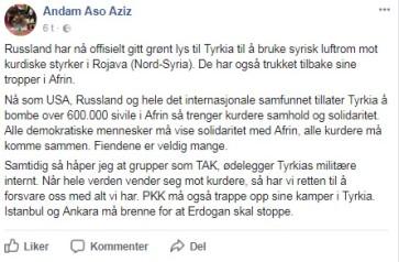 Skjermdump hentet fra Facebook-profilen til Andam Aso Aziz: https://m.facebook.com/story.php?story_fbid=179473199473173&id=100022314816456&ref=content_filter